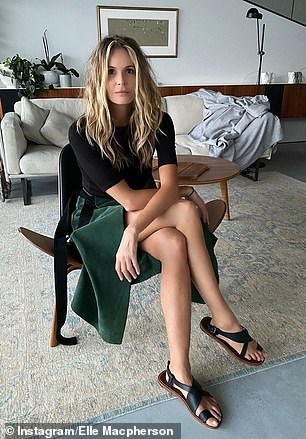 Age defying: Supermodel Elle Macpherson looked positively ageless as she posed in designer Albus Lumen while in Australia this week