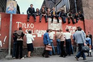 Strikers at Gdansk shipyard in 1980.