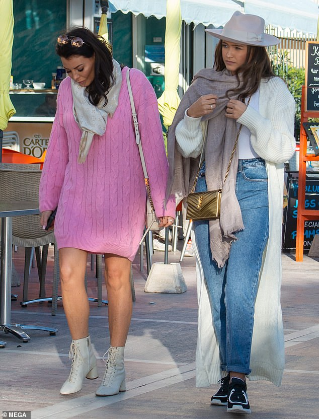 Sister time: Jess Wright was joined by her lookalike younger sister, Natalya in Marbella, Spain on Sunday as the pair headed to their uncle's birthday celebrations