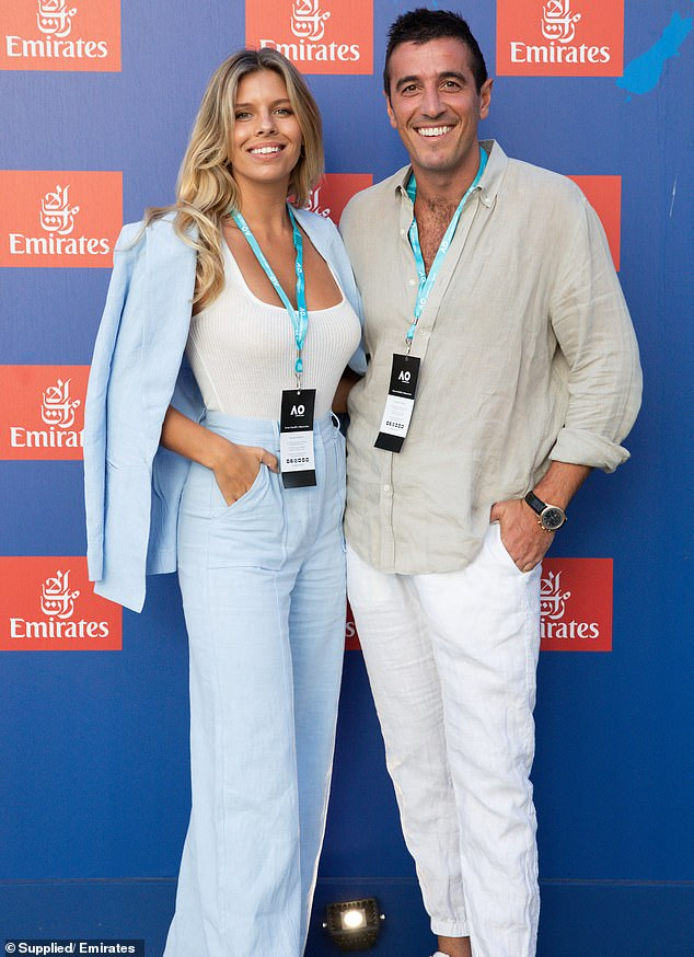 Back on! Natasha Oakley, 29, has 'rekindled her romance' with ex-boyfriend Theo Chambers, according to Monday's The Daily Telegraph, as the pair attended a friend's wedding in Sydney. Pictured at the Australian Open in Melbourne on February 2