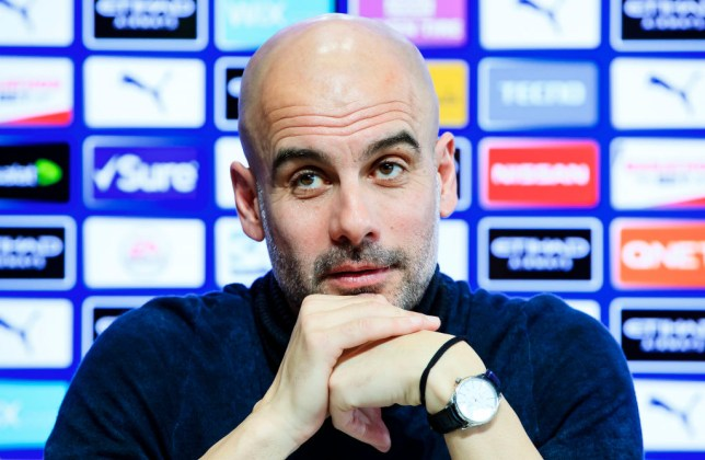 Pep Guardiola, manager of Manchester City speaks during the press conference at Manchester City Football Academy on February 07, 2020 in Manchester, England.