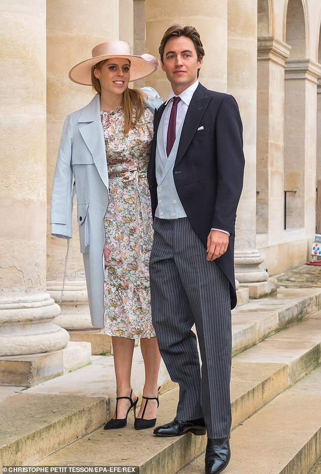 Princess Beatrice, pictured with Edo Mapelli Mozzi is taking no chances about not fitting into her wedding dress