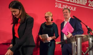 Lisa Nandy, Rebecca Long-Bailey and Keir Starmer at a Labour party leadership hustings in Durham.