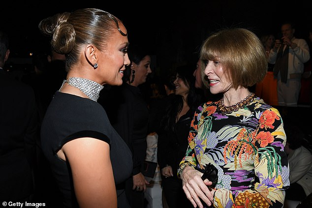 Fashion force:JLo was also seen chatting with Vogue editor-in-chief Anna Wintour