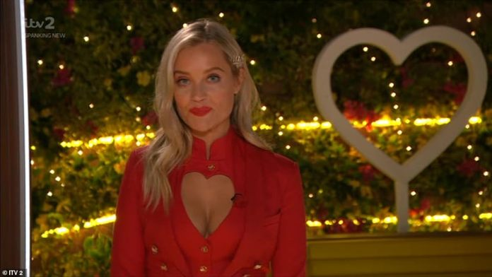 Emotional: Laura Whitmore opened the Love Island finale on Sunday night with an emotional tribute to former-host Caroline Flack , who took her own life last week