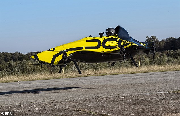 During testing at Vrsar in CroatiaCEO Weirather sat in the single-seat machine as it was piloted remotely by former Drone Champions League contender and multi-discipline champion Mirko Cesena