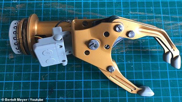 He took apart an old prosthetic that was some 20 years old and found it had an attachment on the end that could fit into his current prosthetic and a circuit
