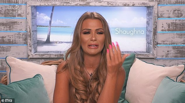 Hurt: Elsewhere, Shaughna had a showdown with Callum Jones after he returned to the villa with blonde model Molly on his arm and broke down as she threatened to leave the show
