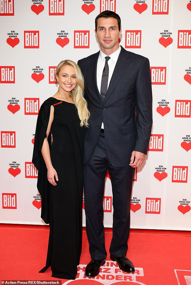 The way they were: Prior to their outing, it was believed that Hayden was still with her then-fiance Wladimir Klitschko, who she shares five-year-old daughter Kaya; pictured December 7, 2013 at A Heart for Children Charity Gala in Berlin, Germany