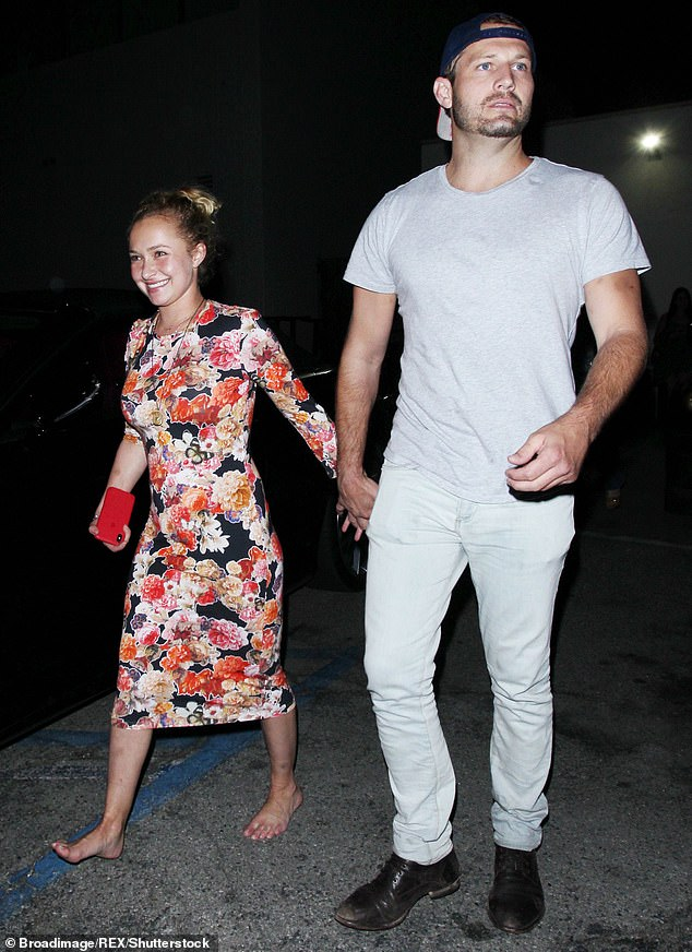 Throwback:Brian has 'isolated Hayden from friends and family' since their relationship started in fall 2018; pictured August 2, 2018, the first time they were seen together as they left Craig's restaurant in LA with Hayden barefoot