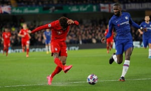 Kingsley Coman fires wide when he should have hit the target.