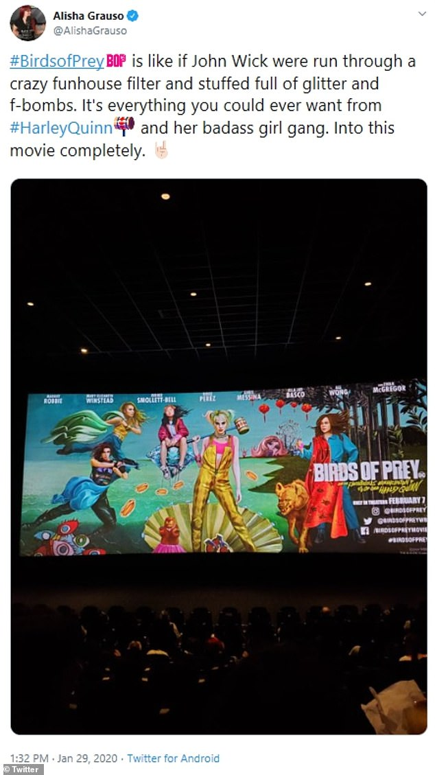 Into it:Atom Tickets' Alisha Grauso described the movie as, 'if John Wick were run through a crazy funhouse filter and stuffed full of glitter and f-bombs' adding, 'I'm into this movie completely'