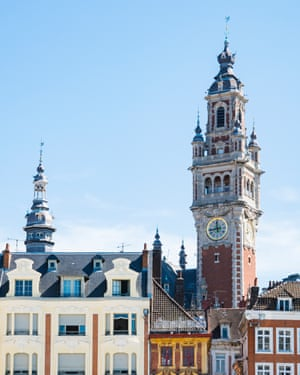 tower of Chamber of commerce, buildings at central town square in Lille, Francehistorical building, Lille, France