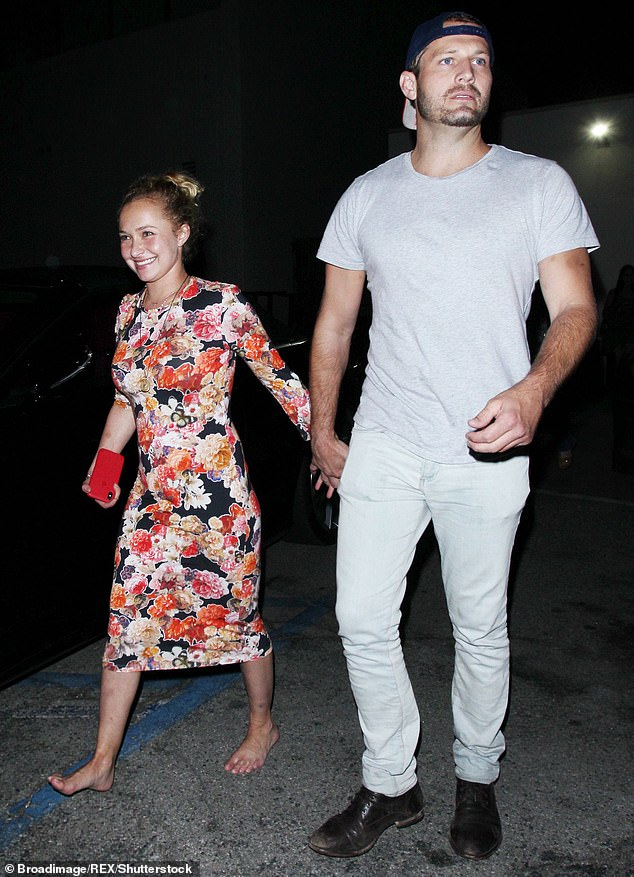 Their debut: The incident comes just nine months after he was arrested for domestic violence following a drunken argument with Hayden at 2 am in May; pictured August 2, 2018, which is the first time they were seen together