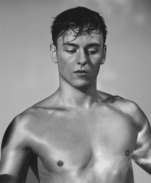 Topless shot of diver Tom Daley from ribs up