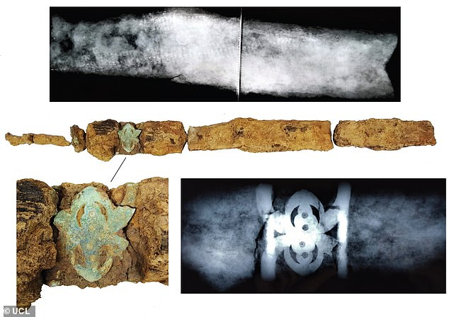 Pictured,X-rays and initial conservation of the sword. Analysis revealeddetailed copper-alloy decoration at the scabbard mouth, which would have been highly visible when the sword was worn in life