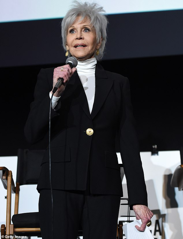 Back to basics: She still sported the grey hairdo she debuted onstage at the Oscars last weekend, after spending decades as a blonde