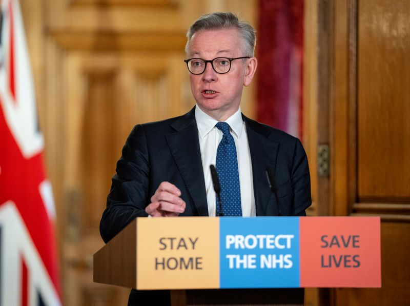 © Reuters. Britain's Chancellor of Duchy of Lancaster Gove holds COVID-19 presser in London
