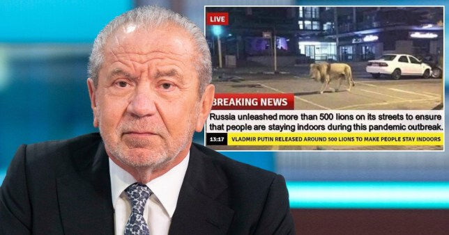 Lord Alan Sugar and his tweet of the fake news report of the lions in Russia