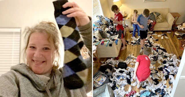 mum creates self isolation hack to get kids matching socks