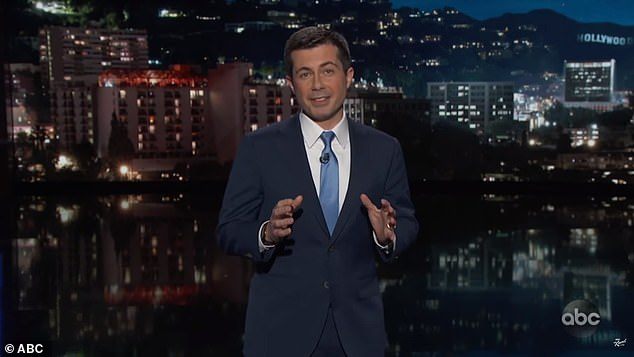 Former Democratic presidential candidate Pete Buttigieg filled in for Jimmy Kimmel Thursday without a studio audience as other late night hosts took similar precautions because of coronavirus concerns