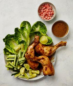 Yotam Ottolenghi's satay chicken and sambal platter.