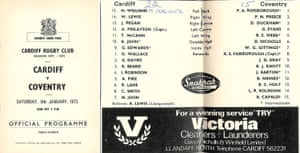 The front cover and teamsheets from the match programme.