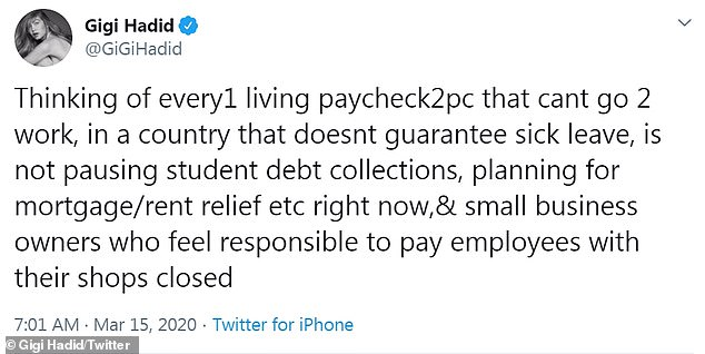 'Thinking of everyone!' Gigi Hadid - who's a Bernie Sanders supporter - called for guaranteed sick leave and pausing student loans/mortgage payments for 'everyone living paycheck to paycheck that can't go to work'