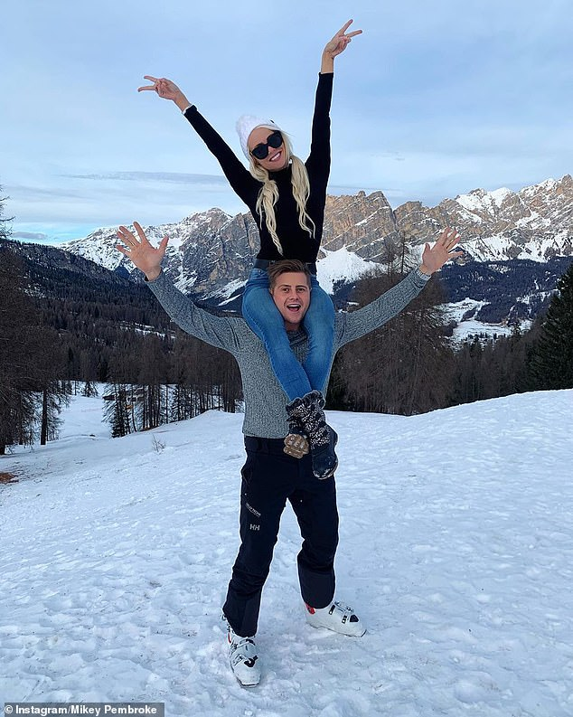 Throwback:On Thursday, Kelly shared a photo to Instagram showing Mikey sitting on her shoulders on a snowy hill, taken in Italy in January