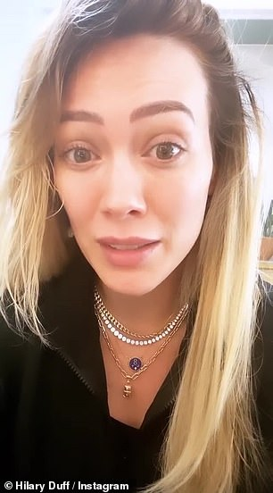 Passionate plea: Hilary Duff, with her daughter Banks in the background, used her Instagram story to passionately plead with the public to stay safe