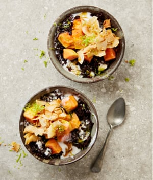 Yotam Ottolenghi's black rice with papaya and ginger syrup.