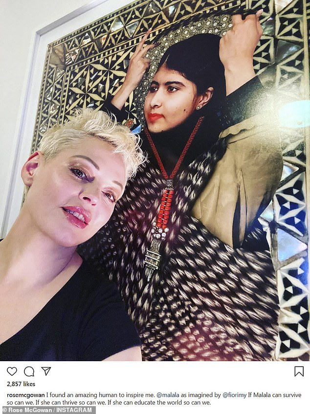 Finding inspiration: Rose McGowan took to Instagram on Sunday to marvel at her inspiration Malala and wrote that 'if Malala can survive so can we'