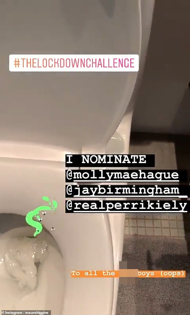 Cleaning up: For Instagram's 'lockdown challenge', Maura opted for some spring cleaning with her ex's electrical toothbrush, stating: 'This is what happens when you f*** a girl over'