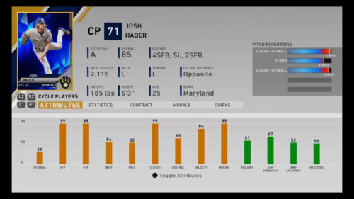 MLB The Show 20 Josh Hader Diamond Dynasty Closing Pitcher RTTS Franchise Mode