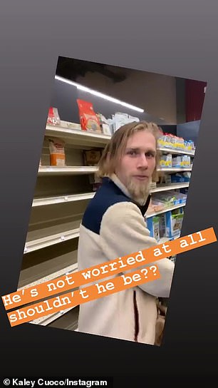 Speaking of which! Big Bang Theory alum Kaley Cuoco Instastoried herself seeing how empty grocery store's shelves were, but her second husband Karl Cook (pictured) wasn't 'worried at all'