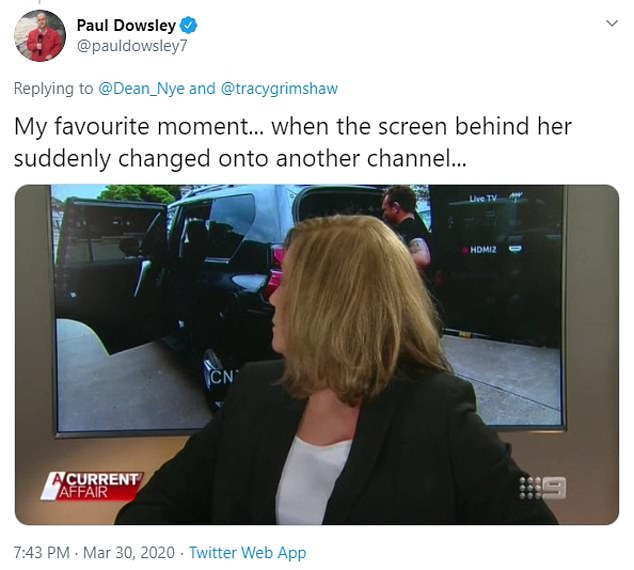 Oops: However, as one viewer pointed out online, even acclaimed TV stars suffer technical difficulties. When conducting an interview, the screen behind changed to a rival network
