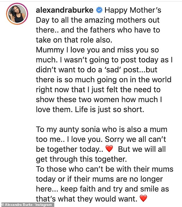 Paying tribute:Within her length caption, the former X Factor winner wrote: 'Mummy I love you and miss you so much!'