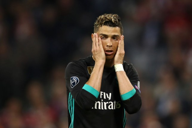 MUNICH, GERMANY - APRIL 25:  Cristiano Ronaldo of Real Madrid looks dejected during the UEFA Champions League Semi Final First Leg match between Bayern Muenchen and Real Madrid at the Allianz Arena on April 25, 2018 in Munich, Germany.  (Photo by Maja Hitij/Bongarts/Getty Images)