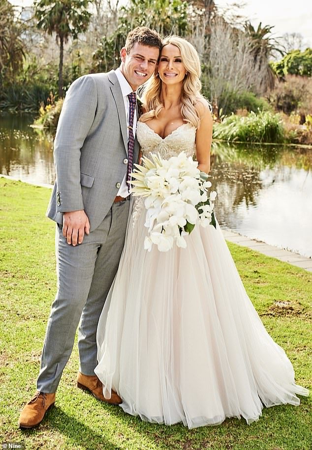 Gone:MAFS Stacey Hampton (R) has sold the $5,500 Louis Vuitton handbag Michael Goonan (L) gave her on the show during their final date and donated the $3,000 proceeds to charity