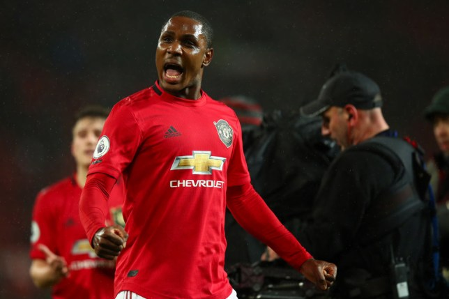 Odion Ighalo celebrates after Manchester United's Premier League victory over Manchester City