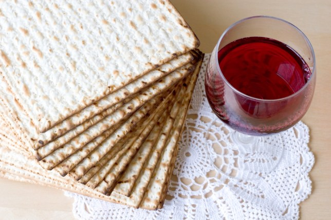 A plate of matzah and a glass of wine