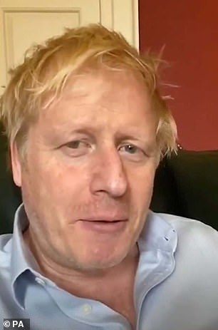 Prime Minister Boris Johnson is currently in a London intensive care unit fighting the coronavirus, leaving Britons waiting with bated breath for more news. He posted a video about his symptoms on Friday (pictured)