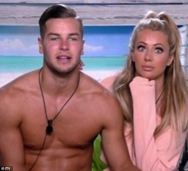 Way back when:Chris was previously in a high-profile romance with fellow Love Island star Olivia Attwood (pictured together on Love Island in 2017)
