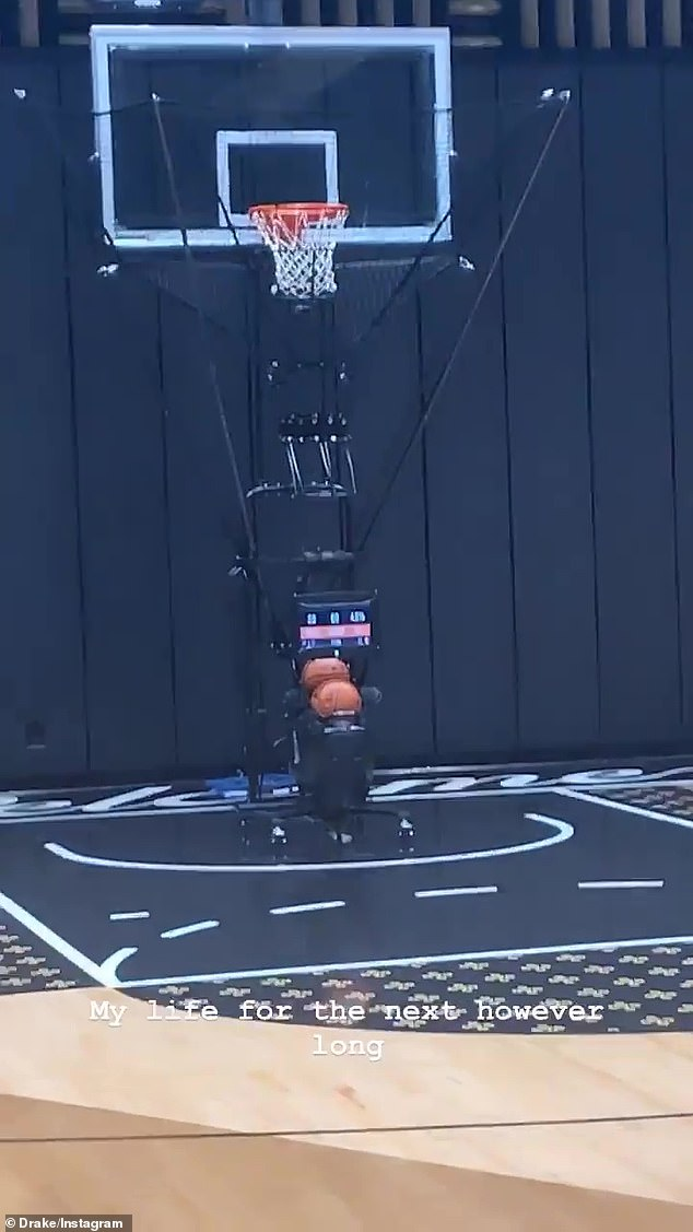 Shooting hoops: The home even has an NBA size basketball court