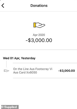 Donation: Stacey provided Daily Mail Australia with a screenshot of the funds leaving her bank account on April 1 to suicide prevention charity On the Line Australia