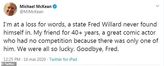 'At a loss for words':Michael McKean, Willard's Best In Show costar, tweeted in Fred's honor