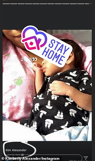 Come clean: Alexander continues to claim that Tristan fathered her child and accused the athlete of lying on Friday. She also shared a picture of the child (right)