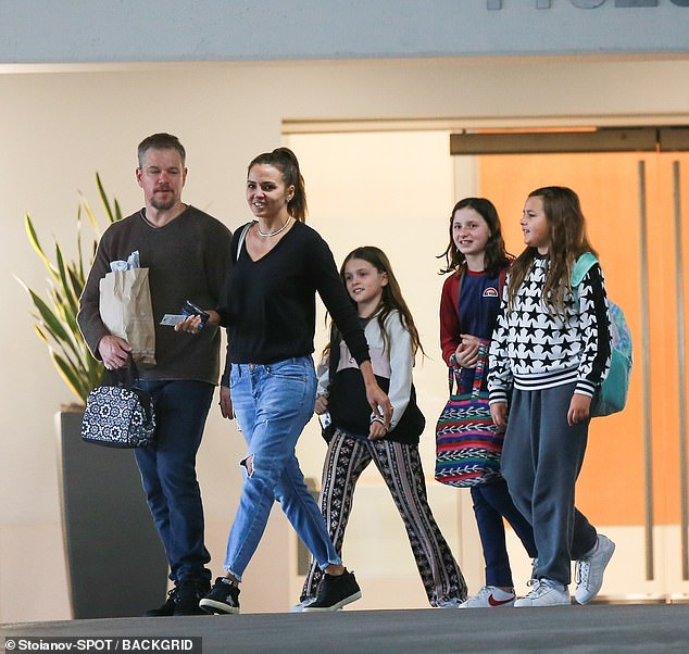 The whole gang: It was revealed last month that Matt, his wife Luciana, and their daughters Isabella, 13, Gia, 11, and Stella, nine, have been residing in a lavish pad in the luxury area (the family pictured without Alexia in Santa Monica in February)