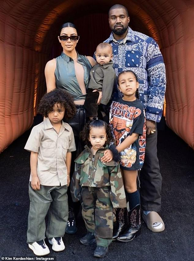 Happy family: Kim and Kanye tied the knot in 2014, and they share daughters North, six, Chicago, two, and sons Saint, four, and Pslam, one