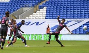 Junior Hoilett scores the first goal for Cardiff.